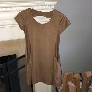 Suede Short Sleeve Dress